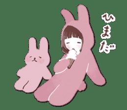 Fluffy bunny & Girl sticker #3879637
