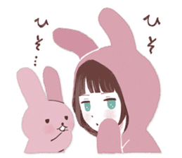 Fluffy bunny & Girl sticker #3879640