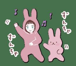 Fluffy bunny & Girl sticker #3879646