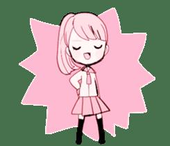 rabbits and girls / pink sticker #3938308