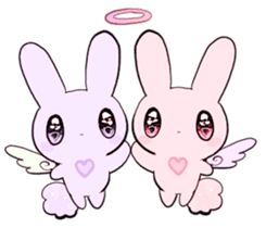 rabbits and girls / pink sticker #3938318