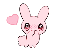 rabbits and girls / pink sticker #3938322