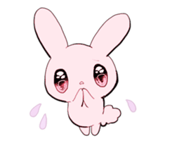 rabbits and girls / pink sticker #3938326