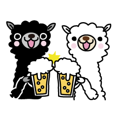 Three alpacas sticker