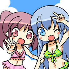 Cute swimsuit girl Marin and Natsumi