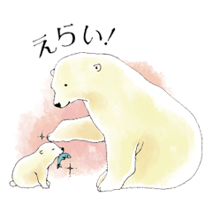 Tenderness stickers of a polar bear Mom