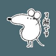 สติ๊กเกอร์ไลน์ Honorific//Daydreaming white mouse