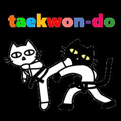 taekwon-do white cat and black cat
