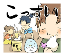 Mikawa samurai and cute owls sticker #4604086