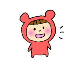 A girl wear costume of bear sticker #4759464
