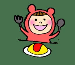 A girl wear costume of bear sticker #4759466