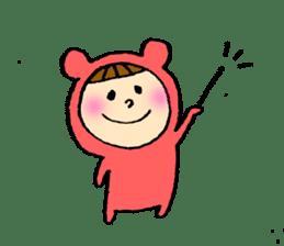 A girl wear costume of bear sticker #4759467