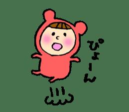 A girl wear costume of bear sticker #4759468