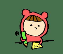 A girl wear costume of bear sticker #4759470