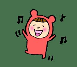 A girl wear costume of bear sticker #4759471