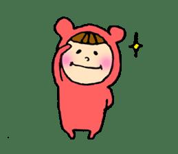A girl wear costume of bear sticker #4759472