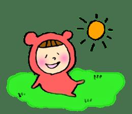 A girl wear costume of bear sticker #4759473