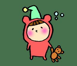 A girl wear costume of bear sticker #4759474