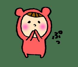A girl wear costume of bear sticker #4759477
