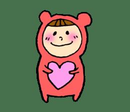 A girl wear costume of bear sticker #4759478