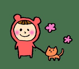 A girl wear costume of bear sticker #4759479