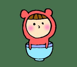 A girl wear costume of bear sticker #4759480