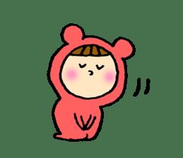 A girl wear costume of bear sticker #4759482