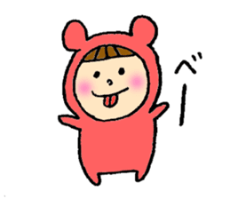 A girl wear costume of bear sticker #4759483