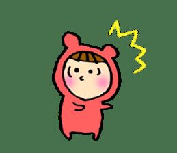 A girl wear costume of bear sticker #4759485