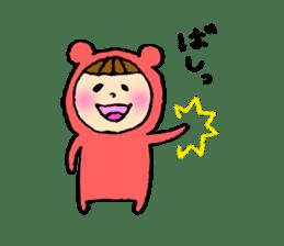 A girl wear costume of bear sticker #4759487