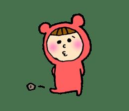 A girl wear costume of bear sticker #4759491