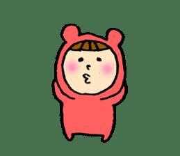 A girl wear costume of bear sticker #4759492