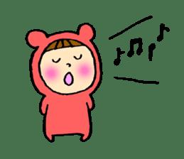 A girl wear costume of bear sticker #4759493