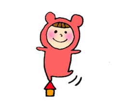 A girl wear costume of bear sticker #4759495