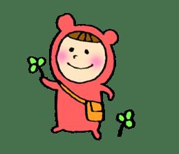 A girl wear costume of bear sticker #4759496