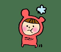 A girl wear costume of bear sticker #4759500