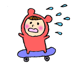 A girl wear costume of bear sticker #4759501