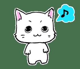 A white cat,a little,little bird sticker #4771624