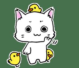 A white cat,a little,little bird sticker #4771630