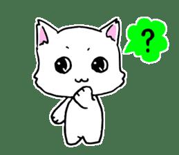 A white cat,a little,little bird sticker #4771632