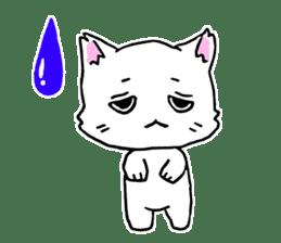 A white cat,a little,little bird sticker #4771633