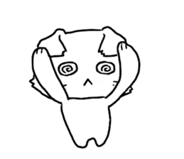 A white cat,a little,little bird sticker #4771650