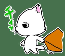 A white cat,a little,little bird sticker #4771652