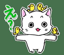 A white cat,a little,little bird sticker #4771653