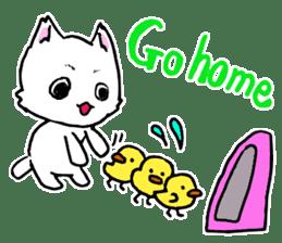 A white cat,a little,little bird sticker #4771655