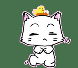A white cat,a little,little bird sticker #4771658