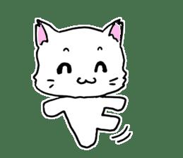 A white cat,a little,little bird sticker #4771659