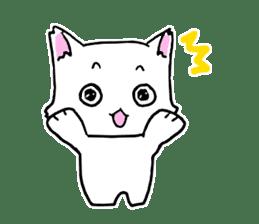 A white cat,a little,little bird sticker #4771662