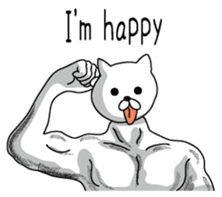 Muscle white cat English version sticker #4783614