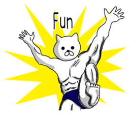 Muscle white cat English version sticker #4783616